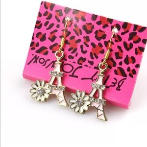 Betsey Johnson Flower Eiffel Tower Earrings